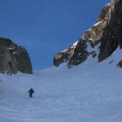 Engelberg couloir skiing